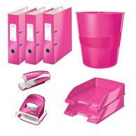 Zostava ružových kancelárskych potrieb Leitz WOW