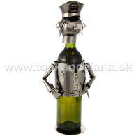 99379 Kovový stojan na víno, motív policajt