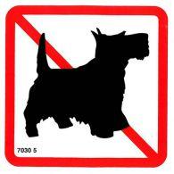 7030 5 S Zákaz vstupu so psom ( pictogram ) 10 x 10cm samolepka