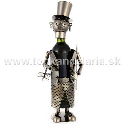 97992 Kovový stojan na víno, motív kominár