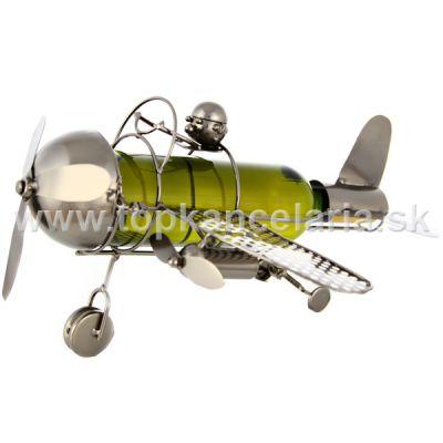 98267 Kovový stojan na víno, motív lietadlo s pilotom