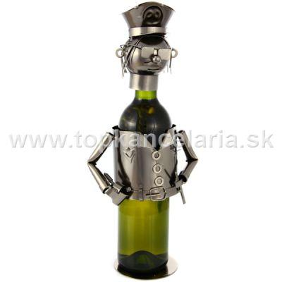 97379 Kovový stojan na víno, motív policajt