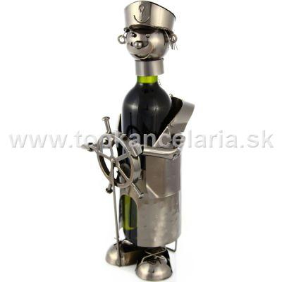 99247 Kovový stojan na víno, motív kormidelník
