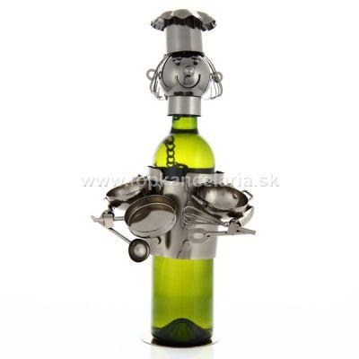 98565 Kovový stojan na víno, motív kuchár s riadom