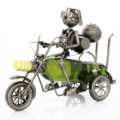 99401 Kovový stojan na víno, motív motorkár na trojkolke
