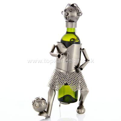 98050 Kovový stojan na víno, motív futbalista