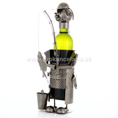 97385 Kovový stojan na víno, motív rybár s udicou